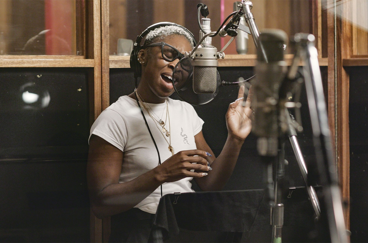 Erivo in the studio during the production of Harriet.