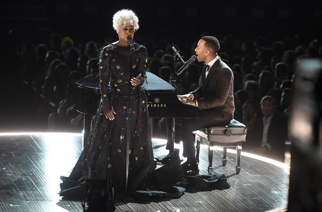Cynthia Erivo and John Legend perform onstage during The 59th Grammy Awards at Staples Center on Feb. 12, 2017 in Los Angeles.