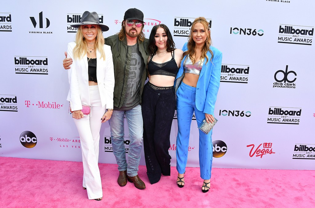 Tish Cyrus, Billy Ray Cyrus, Noah Cyrus and DJ Brandi Cyrus attend the 2017 Billboard Music Awards at T-Mobile Arena on May 21, 2017 in Las Vegas.