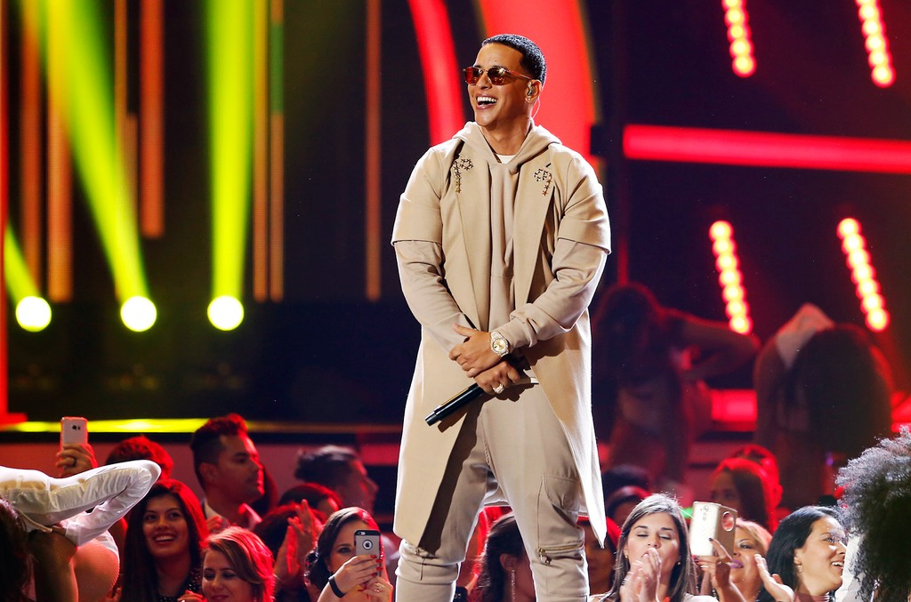 Daddy Yankee performs on stage during the 2016 Premios Tu Mundo (Your World Awards) at the American Airlines Arena on Aug. 25, 2016 in Miami.