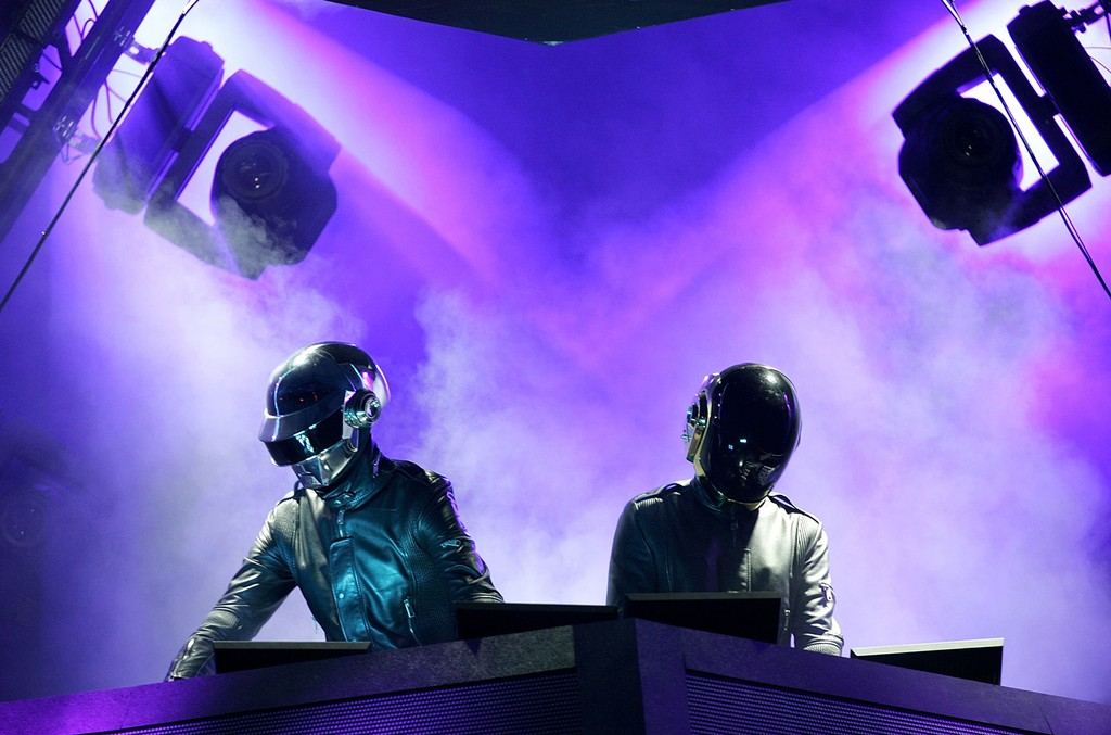 Daft Punk perform at the Coachella Music Festival on April 29, 2006 in Indio, Calif.