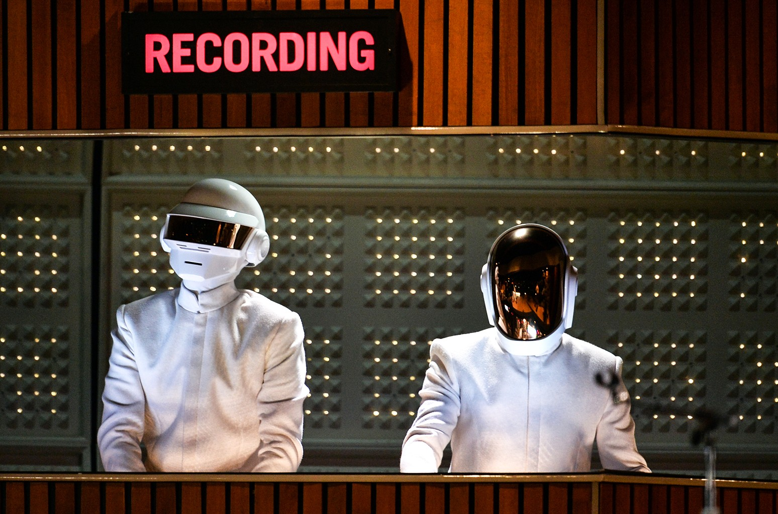 Daft Punk perform during the 56th Grammy Awards at Staples Center on Jan. 26, 2014 in Los Angeles.