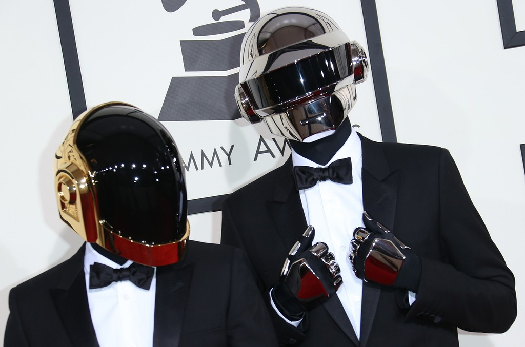 Daft Punk arrive at the 56th Annual Grammy Awards at Staples Center on Jan. 26, 2014 in Los Angeles.