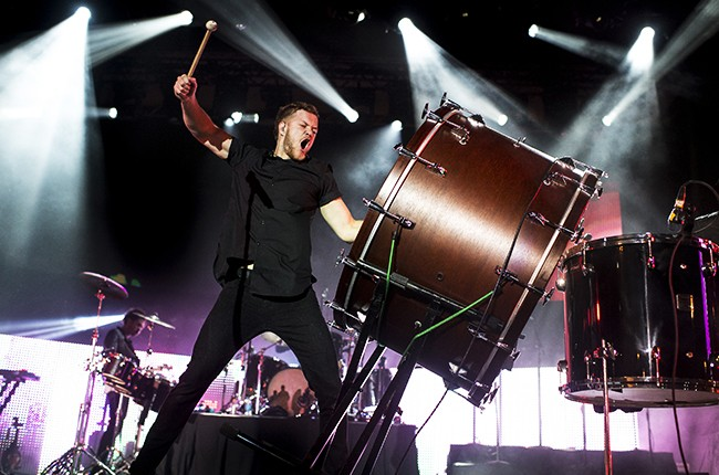 Dan Reynolds of Imagine Dragons performs during the Cleveland Cavaliers & Turner Sports Home Opener Fan Fest