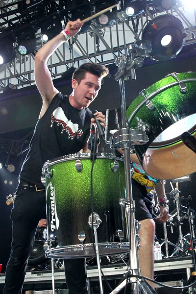 Dan Smith of Bastille performs onstage during Coachella 2014