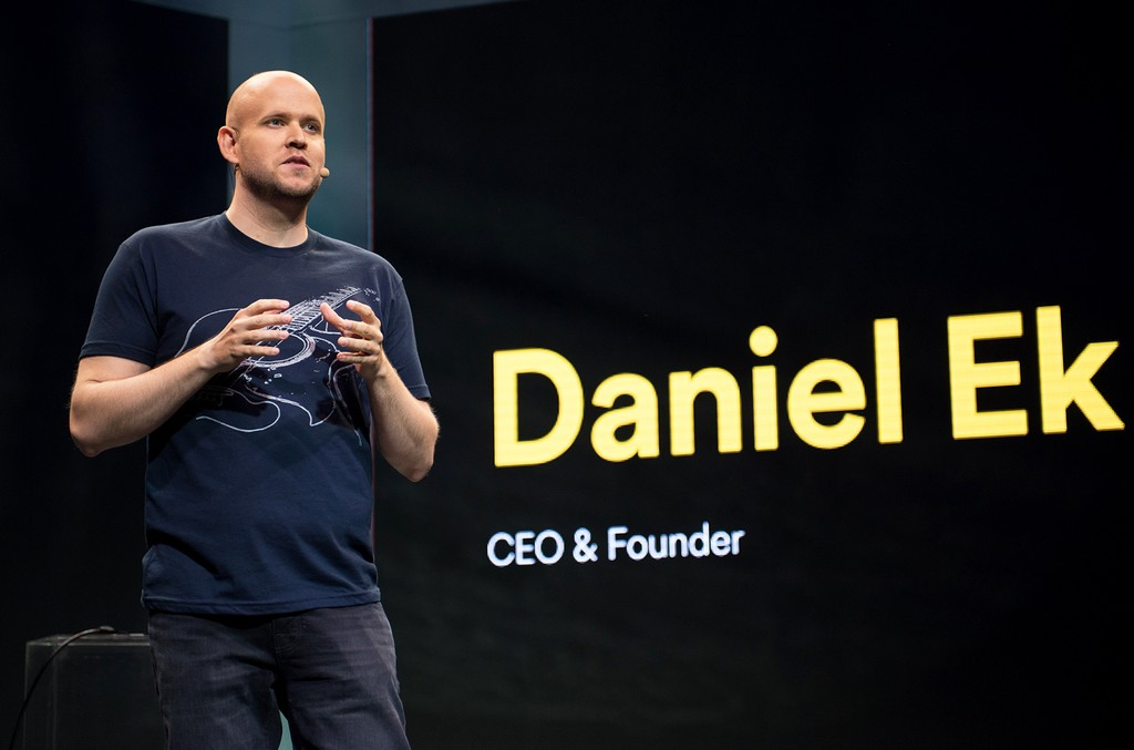 Founder and CEO of Spotify Daniel Ek speaks onstage during the Spotify press announcement on May 20, 2015 in New York City.