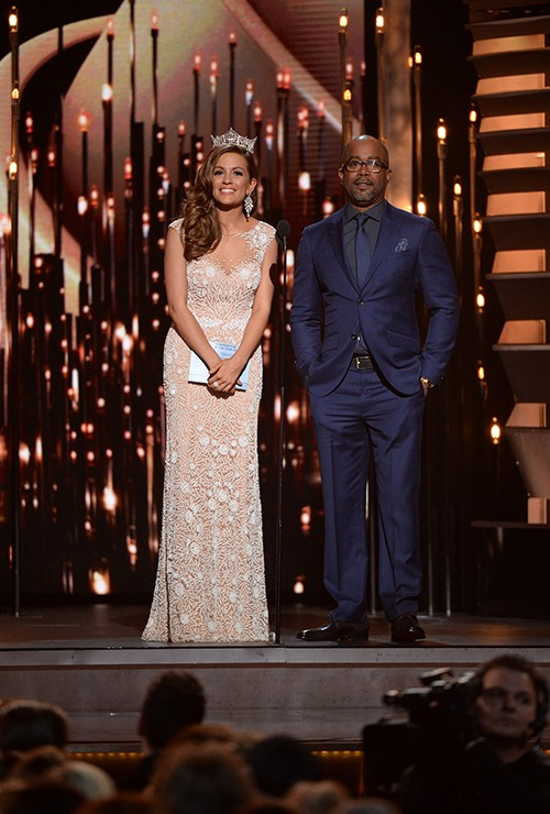 Miss America 2016, Betty Cantrell, and Darius Rucker speak onstage at the 49th annual CMA Awards
