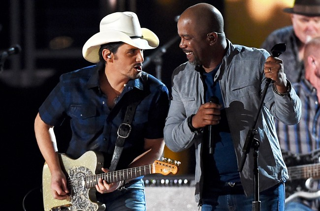 Brad Paisley and Darius Rucker perform onstage during the 50th Academy Of Country Music Awards