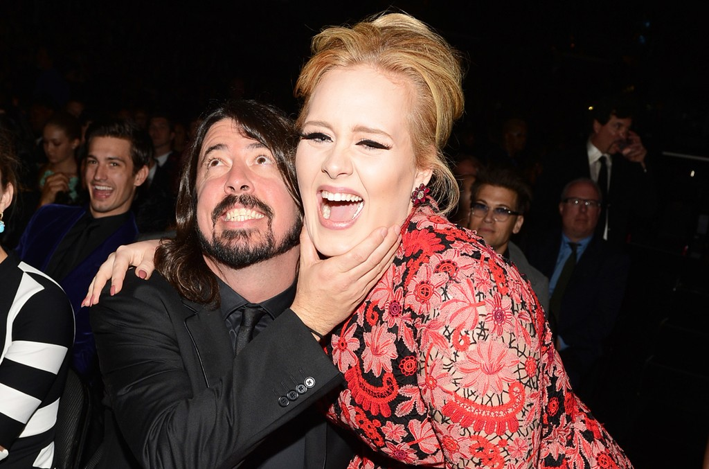 Dave Grohl and Adele attend the 55th Annual Grammy Awards at Staples Center on Feb. 10, 2013 in Los Angeles.