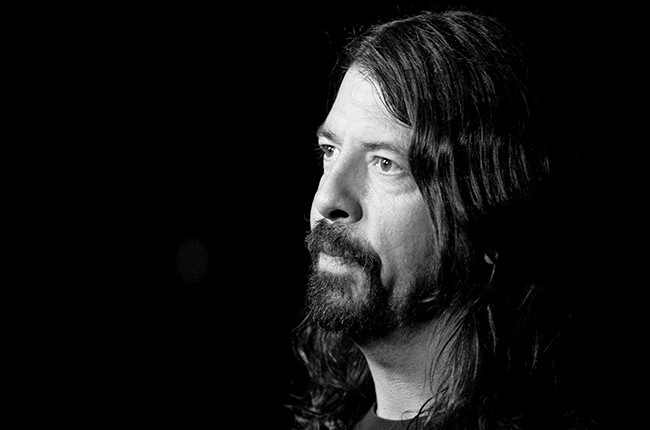 Dave Grohl at the Staples Center on February 7, 2015 in Los Angeles, California.