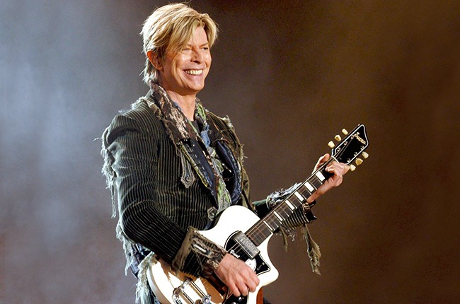 David Bowie performing at The Isle Of Wight Festival in Britain on June 13, 2004.