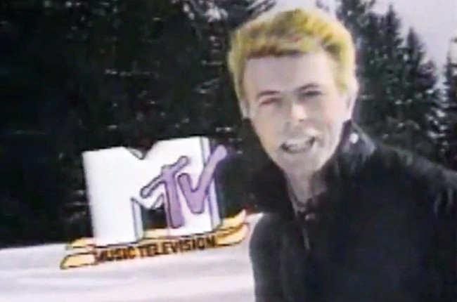 "David Bowie in the ""I Want My MTV"" campaign in 1982."