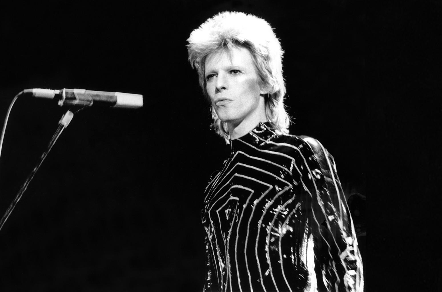 David Bowie performs as Ziggy Stardust