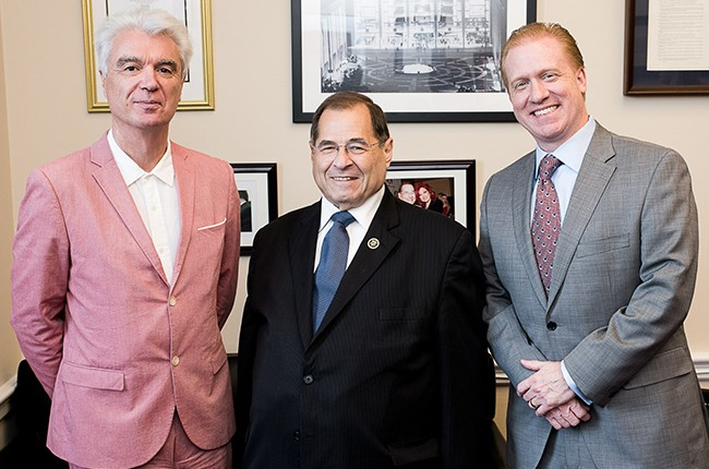 David Byrne, Rep. Jerry Nadler (NY) and Michael Huppe.