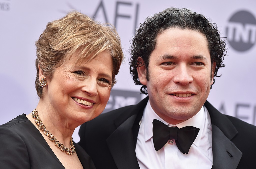 CEO of the Los Angeles Philharmonic Deborah Borda and Conductor Gustavo Dudamel arrive at the 44th AFI Life Achievement Awards Gala Tribute to John Williams at Dolby Theatre on June 9, 2016 in Hollywood, Calif.