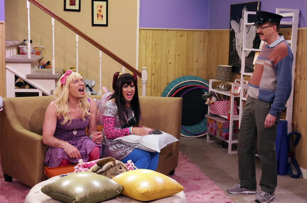 """Jimmy Fallon as """"Sara"""", singer Demi Lovato, and writer A.D. Miles during """"Ew!"""" on The Tonight Show Starring Jimmy Fallon on March 27, 2017."""