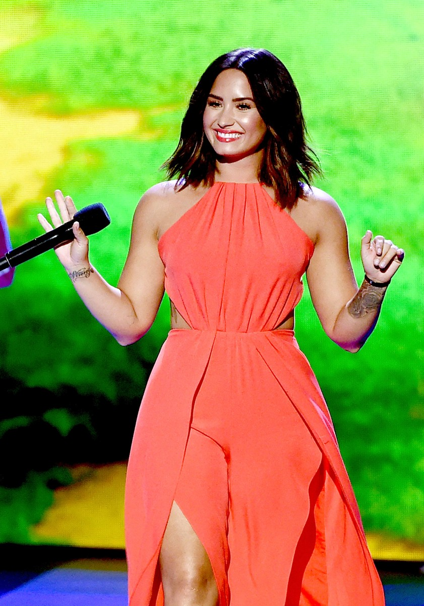 Demi Lovato speaks onstage at Nickelodeon's 2017 Kids' Choice Awards at USC Galen Center on March 11, 2017 in Los Angeles.
