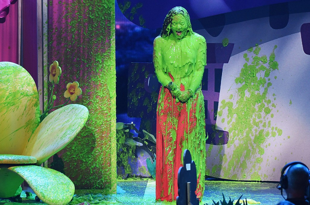 Demi Lovato gets slimed on stage at the 30th Annual Nickelodeon Kids' Choice Awards, March 11, 2017 in Los Angeles.