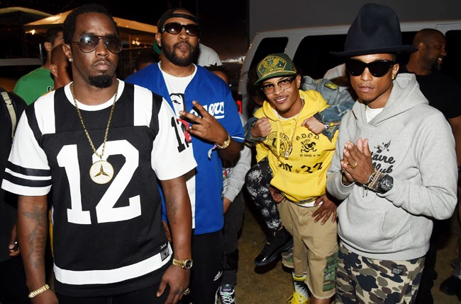Sean Diddy Combs, T.I. and Pharrell Williams attend day 1 of Coachella