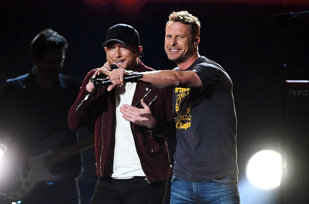 Cole Swindell and Dierks Bentley perform onstage during the 52nd Academy Of Country Music Awards at T-Mobile Arena on April 2, 2017 in Las Vegas.