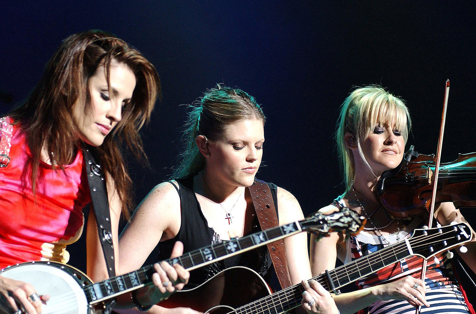 The Dixie Chicks perform live on stage at The Point Theatre Sept. 18, 2003 in Dublin, Ireland.