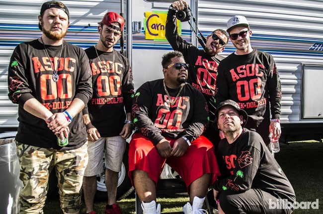DJ Carnage and his crew hang out backstage during Coachella