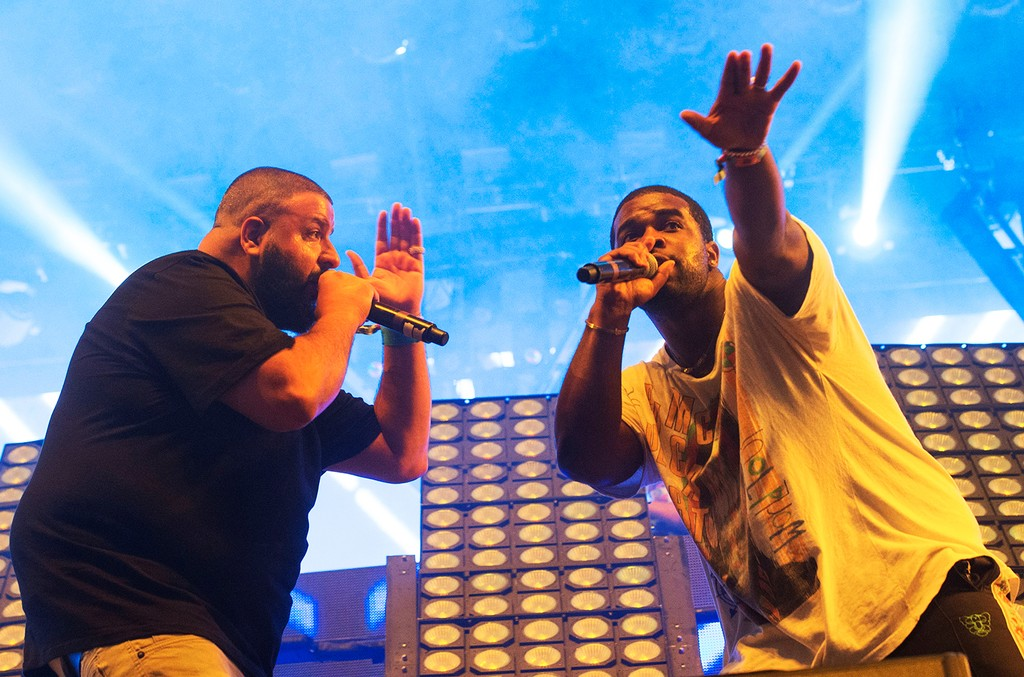 DJ Khaled and A$AP Ferg perform at the Coachella Valley Music And Arts Festival on April 16, 2017 in Indio, Calif.