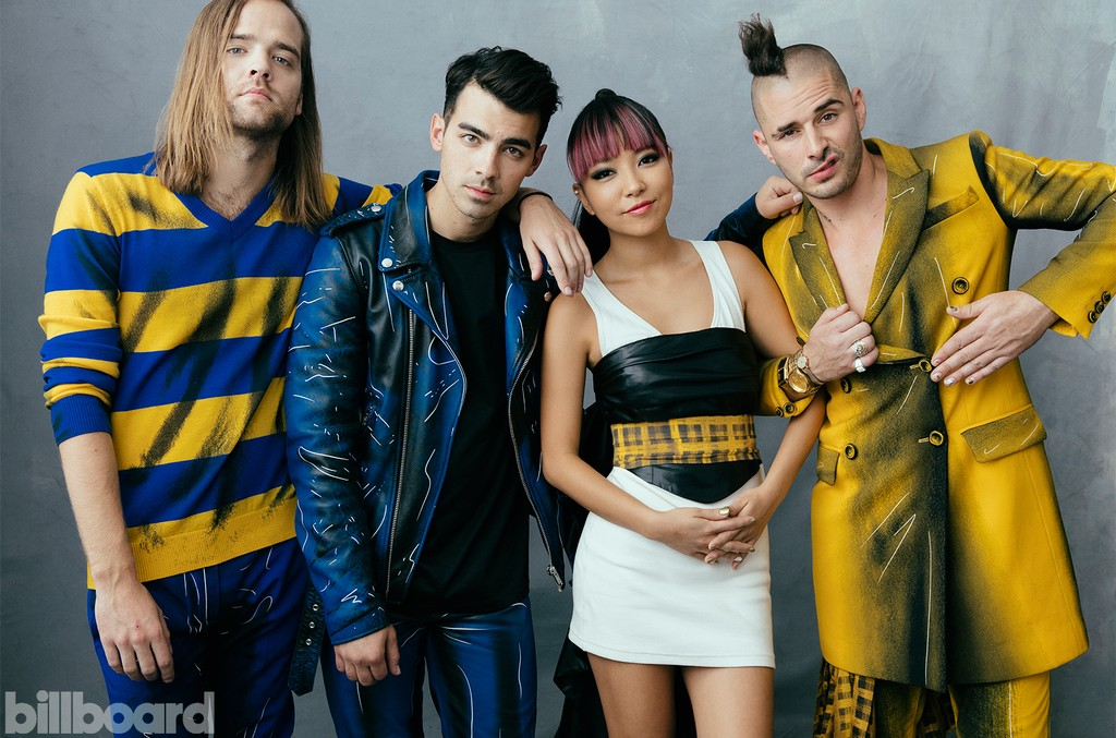 DNCE photographed backstage at the 2016 Billboard Music Awards