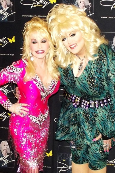 Dolly Parton with Cloe Richards dressed as Dolly