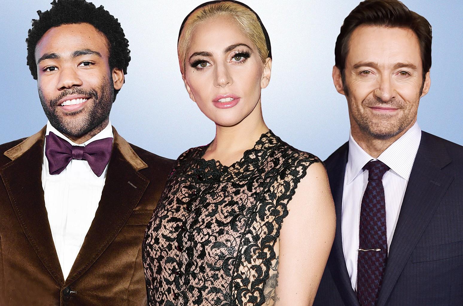 Donald Glover, Lady Gaga & Hugh Jackman