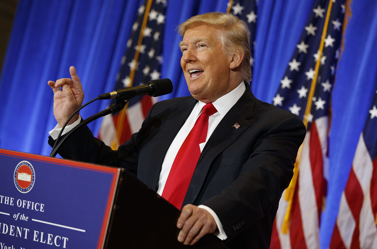President-elect Donald Trump speaks during a news conference in the lobby of Trump Tower in New York City on Jan. 11, 2017.