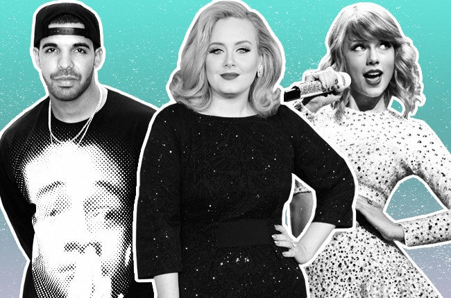Drake, Adele, Taylor Swift