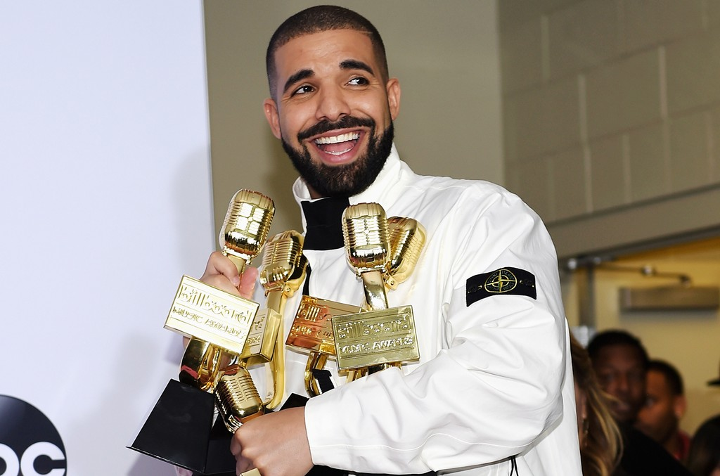 Drake poses in the press room with his awards at the 2017 Billboard Music Awards at T-Mobile Arena on May 21, 2017 in Las Vegas.