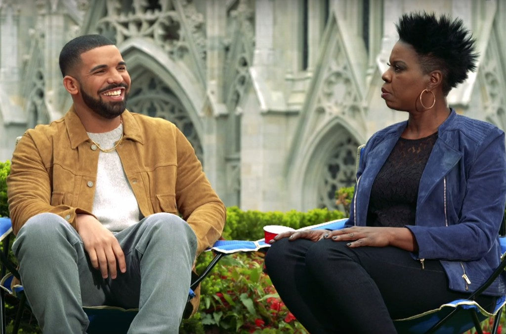 Drake and Leslie Jones in a teaser for Saturday Night Live