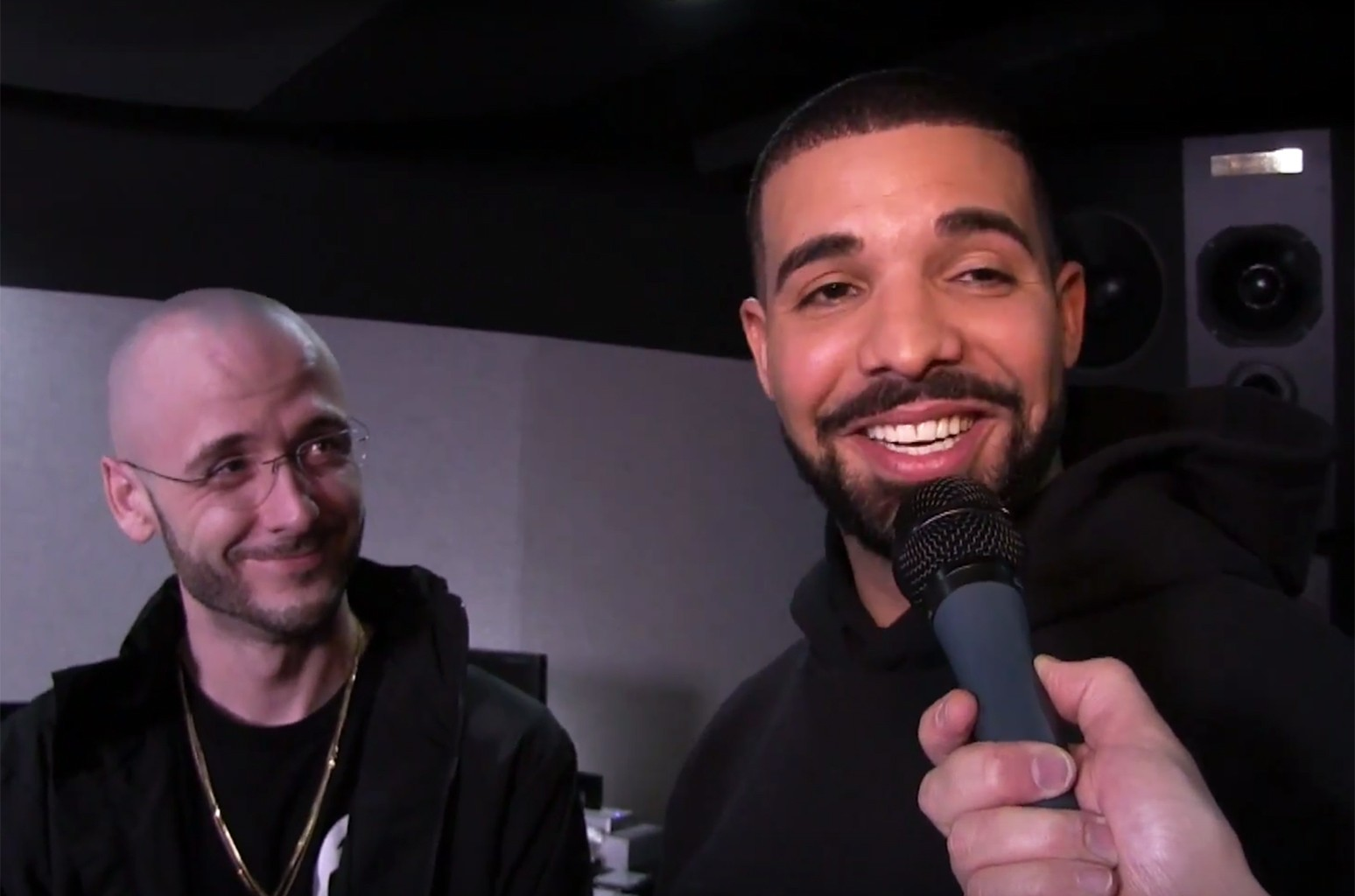 Drake and 40 during an interview with Nardwuar
