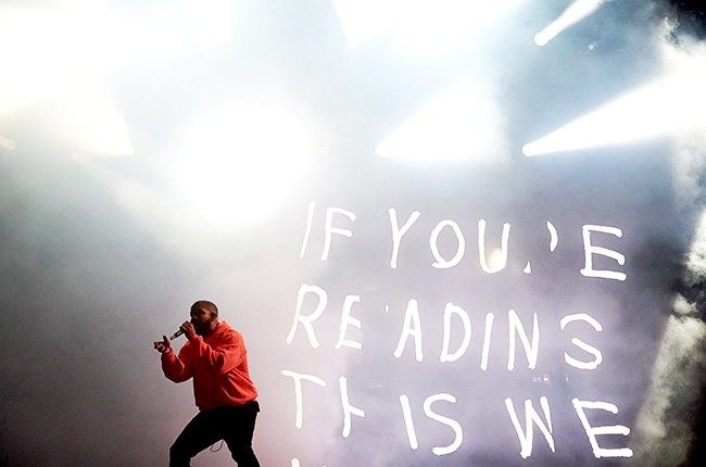 Drake performs on stage on the first day of the Open'er Music Festival 2015