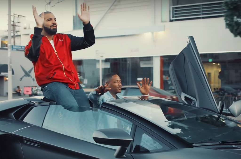 "Drake and YG in the video for ""Why You Always Hatin?"""