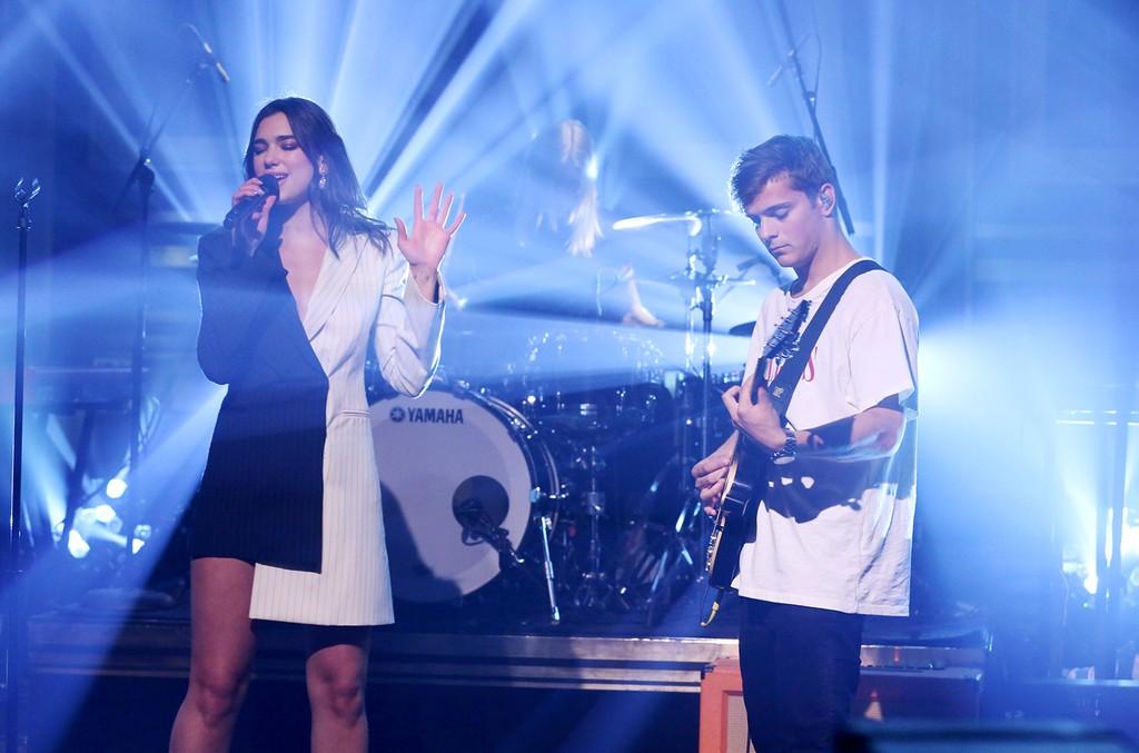 Martin Garrix and Dua Lipa perform on 'The Tonight Show Starring Jimmy Fallon' on March 22, 2017.