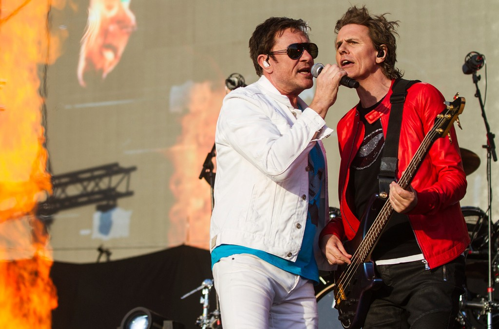 Simon Le Bon and John Taylor of Duran Duran perform on stage as part of Lollapalooza Argentina at Hipodromo de San Isidro on April 1, 2017 in San Isidro, Argentina.