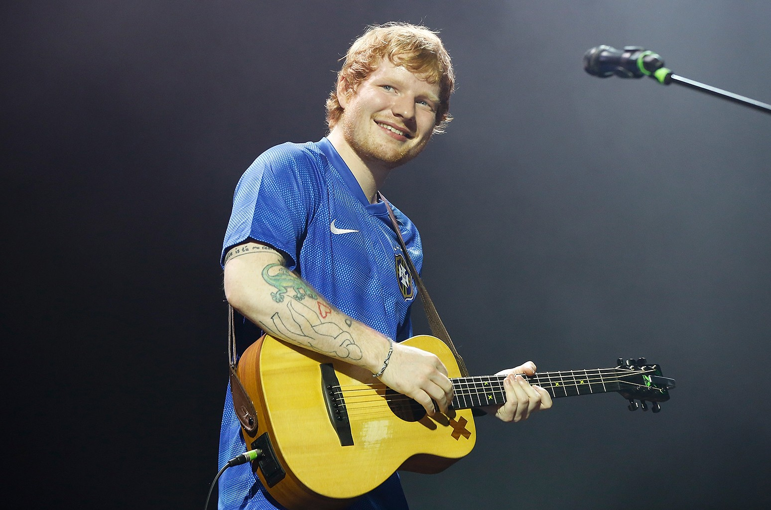 Ed Sheeran perfoms at Espaco das Americas on April 29, 2015 in Sao Paulo, Brazil.