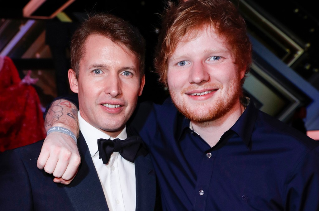 James Blunt and british singer-songwriter Ed Sheeran during the Goldene Kamera show on March 4, 2017 in Hamburg, Germany.