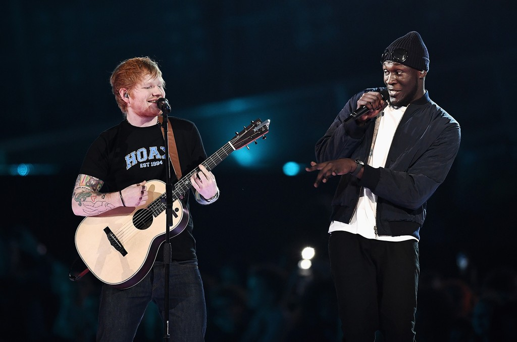 Ed Sheeran and Stormzy perform on stage at the Brit Awards 2017 at the O2 Arena on Feb. 22, 2017 in London, England.