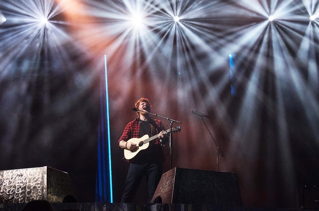 Ed Sheeran performs on the Pyramid Stage at the Glastonbury Festival of Music and Performing Arts on Worthy Farm near the village of Pilton in Somerset, south-west England, on June 25, 2017.