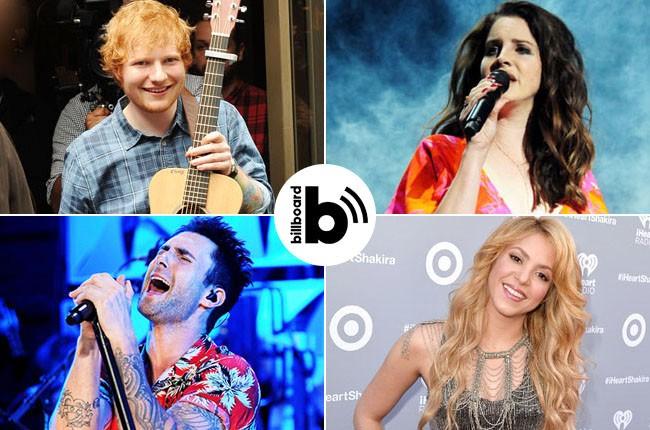 Ed Sheeran, Lana Del Rey, Shakira, Adam Levine