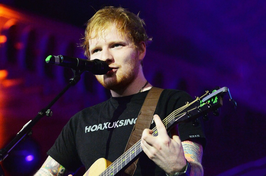 Ed Sheeran performs at the Natural History Museum in London.