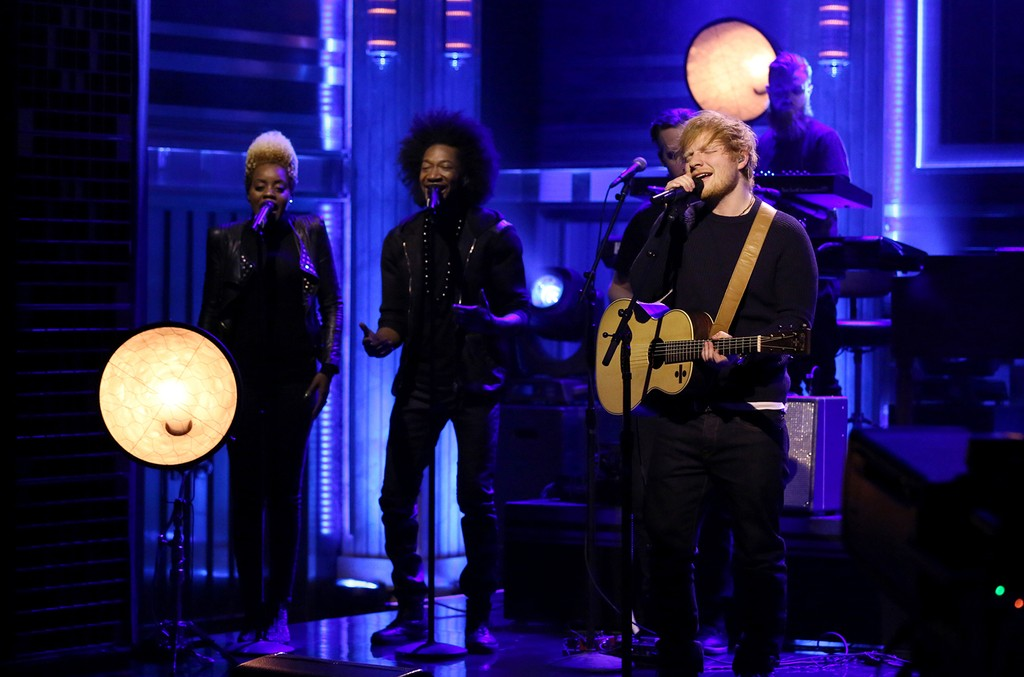 """Ed Sheeran performs on """"The Tonight Show Starring Jimmy Fallon"""" on March 3, 2017."""