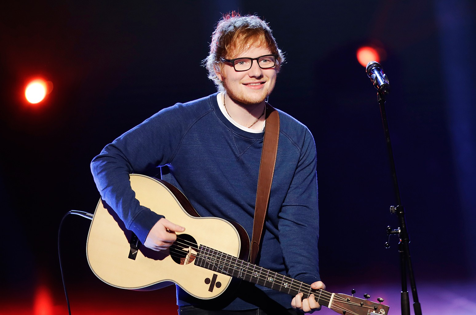 "Ed Sheeran performs during the Italian State RAI TV program ""Che Tempo che Fa,"" in Milan, Italy on March 12, 2017."