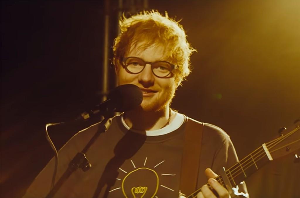 Video still of Ed Sheeran performing on SBTV Live.