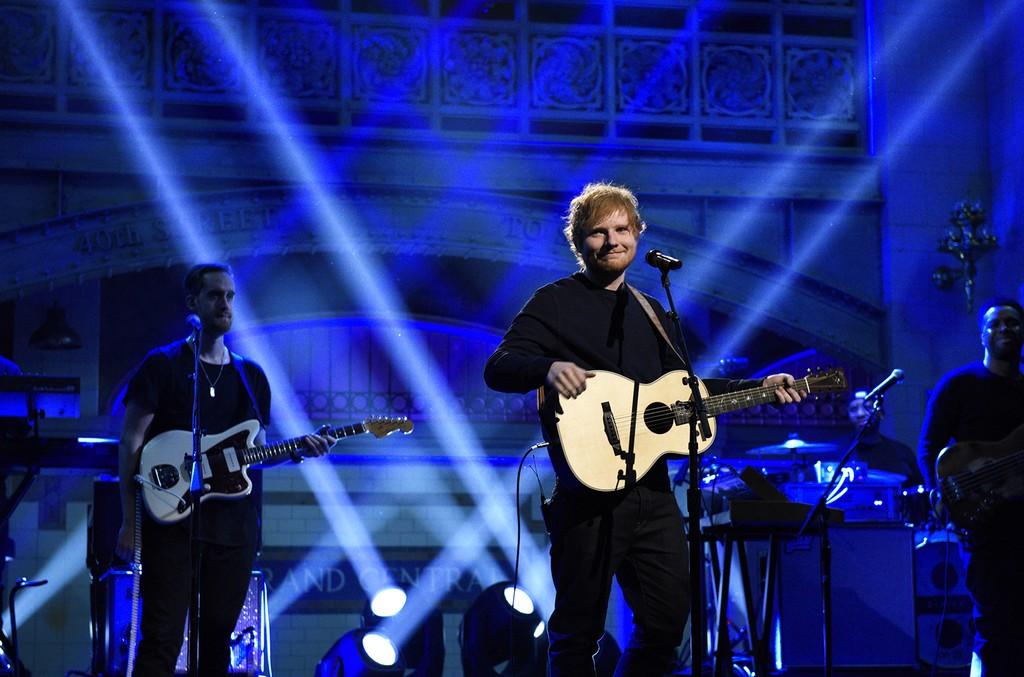 Ed Sheeran performs on Saturday Night Live on Feb. 11, 2017.