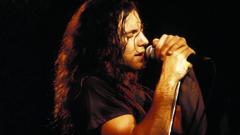 <p>Eddie Vedder of Pearl Jam photographed circa 1992.</p>